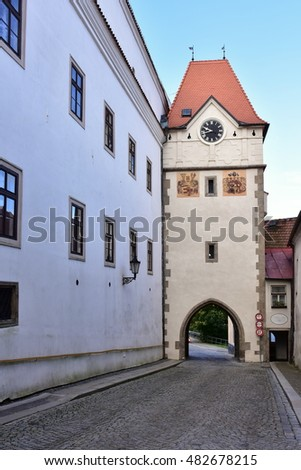 gateway of square of Jindrichuv hradec town,Czech republic