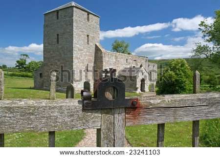 Gateway to Heaven, with a double metal cross on top of Gate latch - stock photo
