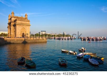 Gateway to India at Sunset in Mumbai, India. - stock photo