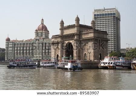 Gateway to India in Mumbai. - stock photo
