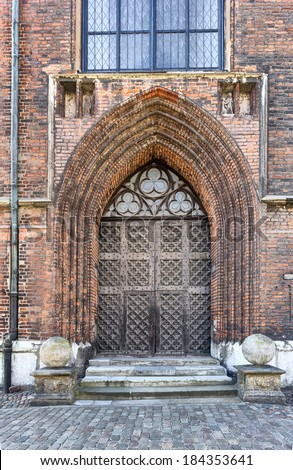 Gateway to St. Mary's Church in Gdansk, Poland - stock photo