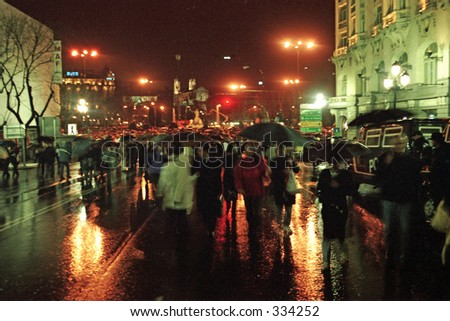 gathering in Madrid protesting March 11th Train Bombing - stock photo