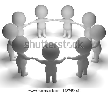 Gathering Of 3d Characters Showing Community Or Together - stock photo