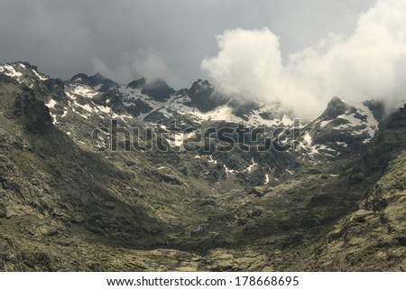 gathering storm in Sierra de Gredos national park, Spain - stock photo