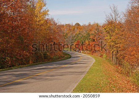 Gatineau park road to color galore forest - stock photo