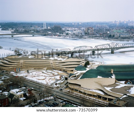 GATINEAU, QC - FEB 8: The Canadian Museum of Civilization's exhibition: Lace Up: Canada's Passion for Skating to March 21, 2010. Aerial view of the Museum of Civilization taken 16 March 2011. - stock photo