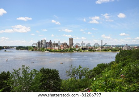Gatineau Skyline, Canadian Museum of Civilization and Ottawa River, viewed from Ottawa, Quebec, Canada - stock photo