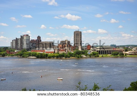 Gatineau Skyline, Canadian Museum of Civilization, viewed from Ottawa, Quebec, Canada - stock photo