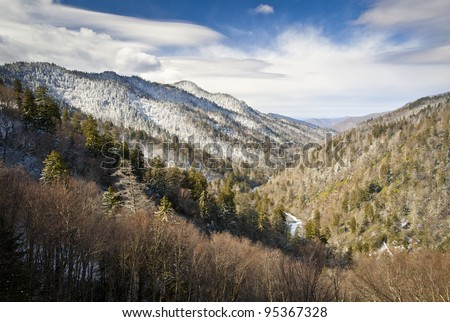 Gatlinburg Great Smoky Mountains National Park Winter Overlook Snow Landscape in Cold Tennessee January - stock photo