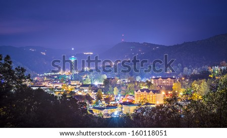 Gatlinburg, Tennessee in the Great Smoky Mountains. - stock photo