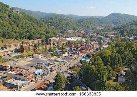 GATLINBURG, TENNESSEE - OCTOBER 6: Aerial wide-angle view of Gatlinburg, Tennessee on October 6, 2013. Gatlinburg is a major tourist destination and gateway to the Great Smoky Mountains National Park.