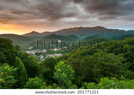 Gatlinburg Tennessee Sevier County Mountain Resort Town in the Great Smoky Mountains - stock photo