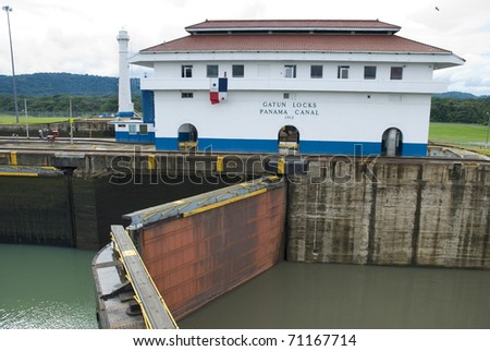 Gatun locks closing. Panama canal - stock photo