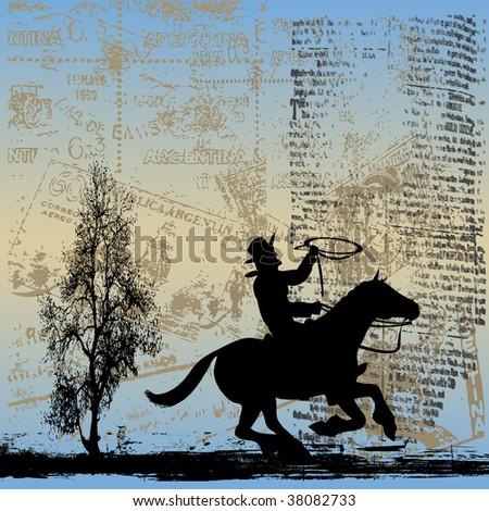 Gaucho Grunge Bitmap Background - stock photo