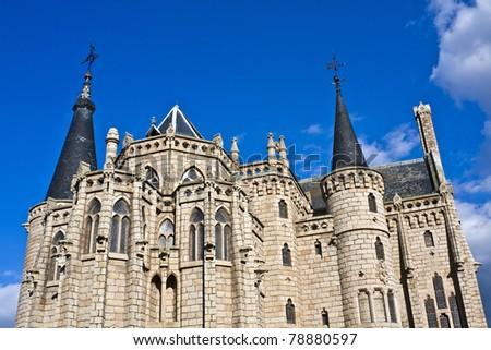 Gaudi Palace in Astorga, Leon, Spain - stock photo