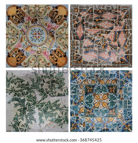Gaudi Parc de Guell mosaic collection isolated on white - stock photo