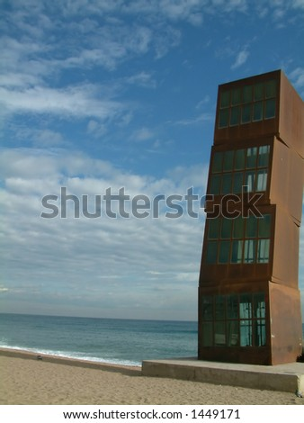 Gaudi sculpture on beach - stock photo