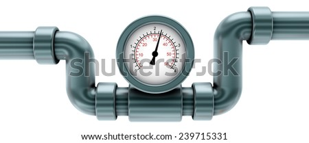 gauge on pipe, isolated on white 3d render - stock photo