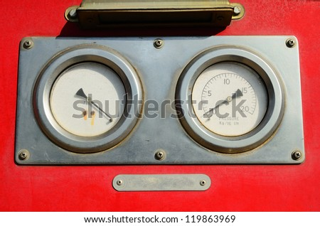 Gauge , Part of red Fire Truck equipment - stock photo