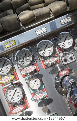 Gauges and dials on a fire engine - stock photo