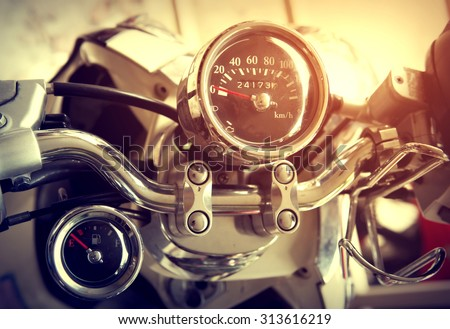 Gauges of vintage classic motorcycle - retro filter effect - stock photo