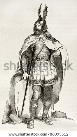 Gaul warrior old illustration. Created by Wattier after Herbe, published on Magasin Pittoresque, Paris, 1842 - stock photo