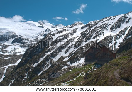 Gauli Hut in high mountains of bernese oberland switzerland