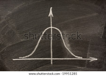 Gaussian, bell or normal distribution curve sketched with white chalk on a blackboard - stock photo