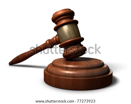 Gavel - A court room gavel. One of the icons of justice and balance. - stock photo