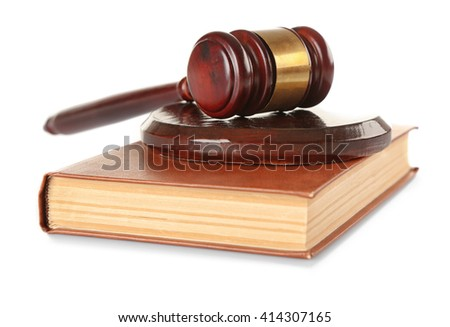 Gavel and book isolated on white - stock photo