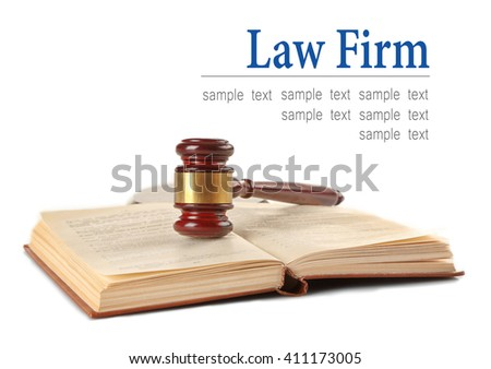 Gavel and book isolated on white. Law firm concept - stock photo