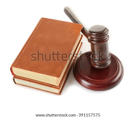 Gavel and books isolated on white - stock photo