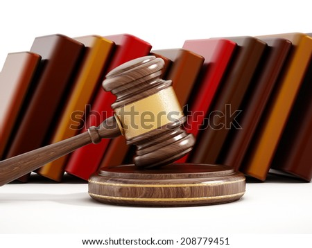 Gavel and books. Law concept. - stock photo
