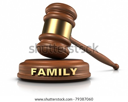 "Gavel and ""FAMILY"" word writing on sound block. - stock photo"