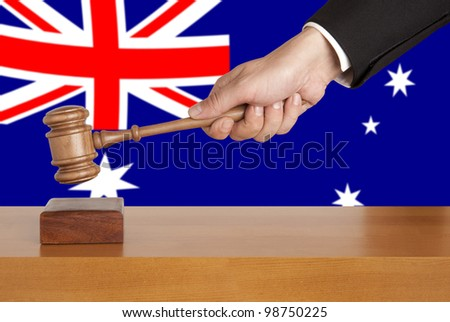 Gavel  and Flag of Australia - stock photo