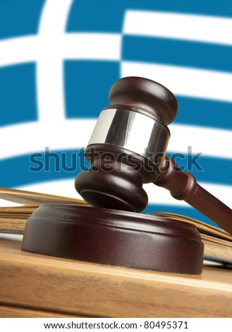 Gavel  and Flag of Greece