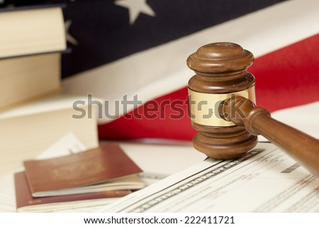 Gavel and Immigration Documents - stock photo