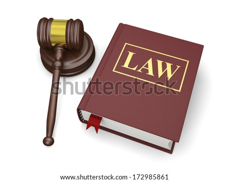 Gavel and law book isolated on white background, symbols of law and justice - stock photo