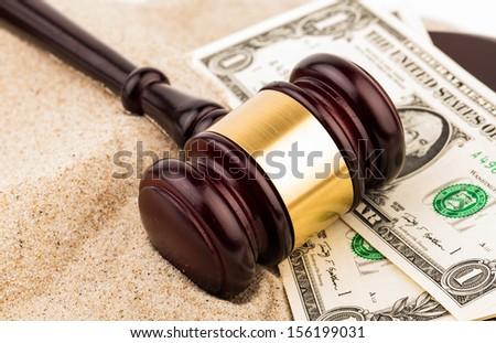 gavel and money - stock photo