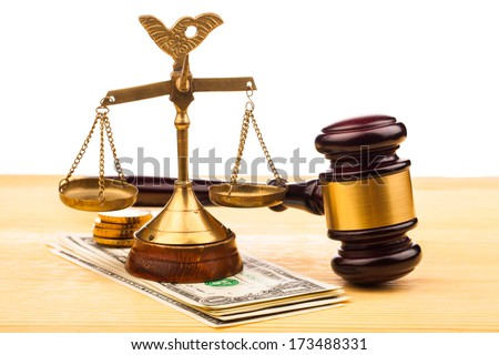 gavel and money  - stock photo