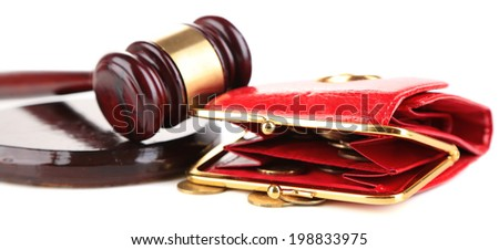 Gavel and money coins isolated on white - stock photo