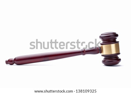 gavel and  on a white background - stock photo
