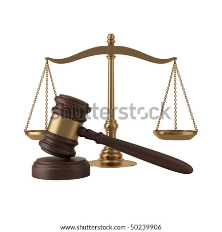 Gavel and scales isolated on white - stock photo