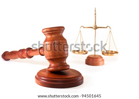 gavel and scales of justice - stock photo