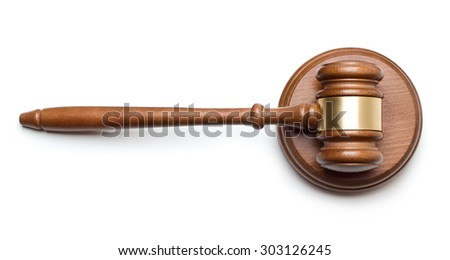Gavel and sound block isolated on white background - stock photo