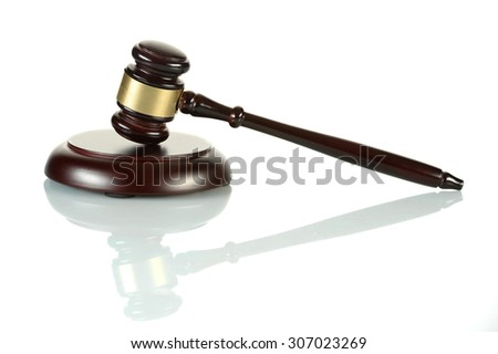 Gavel and sound block isolated over white background - stock photo