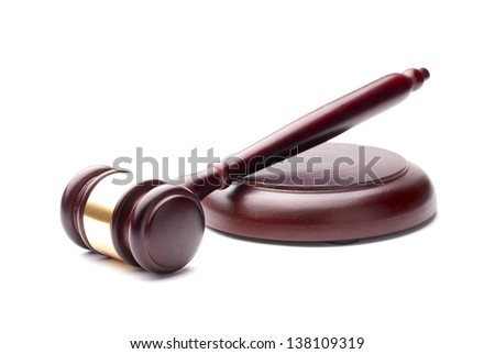 gavel and stand it on a white background