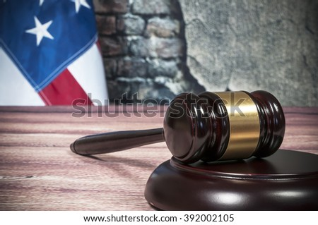 Gavel and USA flag - stock photo