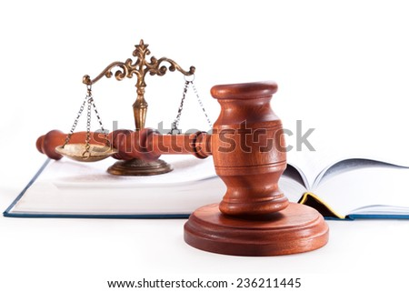 Gavel, book and scales on a white background - stock photo