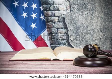 Gavel , book and USA flag - stock photo